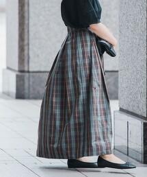 蜜桃絨 格紋打褶長裙