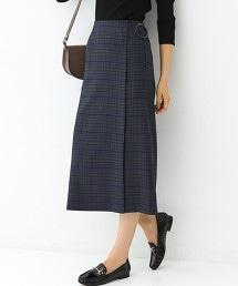 FM 附腰帶 格紋 窄裙