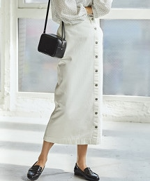 SC 側鈕釦 窄裙 牛仔裙