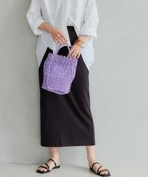 SC 毛圈布 後開衩窄裙 / 條紋