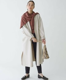FM MANTECO 雙層織物 無領大衣