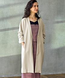 ◆FM 雙層織物 無領大衣CT