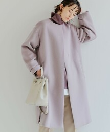 ◆FFC 安哥拉羊毛氈 開衩無領大衣