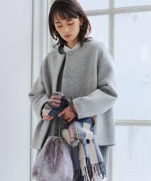◆CFC 壓縮羊毛 無領 短大衣