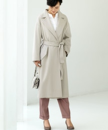 ◆FM 羊毛 海狸呢 附腰帶 大衣 ※