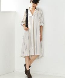 CFC 多臂織直條紋開領襯衫式洋裝