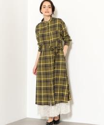 NFC 格紋 長版 襯衫式洋裝