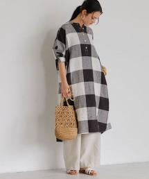 [克特雷特亞麻] SC 格紋土耳其袖洋裝