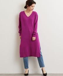 NFC W/RY/N 四平織法 V領 針織洋裝