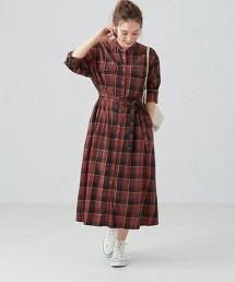 SC 起毛 復古格紋 襯衫式洋裝