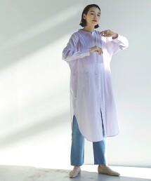 FM 雙層棉紗 抽摺襯衫式洋裝