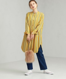 FFC 蝴蝶結袖 襯衫式洋裝