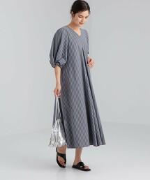 FFC 寬袖 直條紋丹寧連身裙