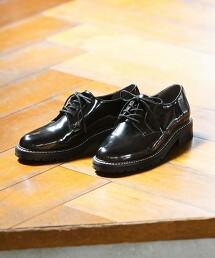 【本田翼著用】圓頭 綁帶皮鞋(鞋跟2.5cm)