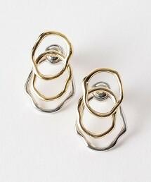 FM 銀 & 金 金屬 W環 耳環