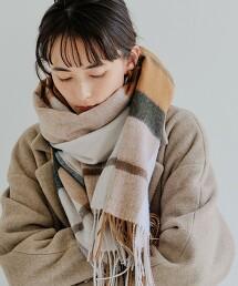 SC 羊毛格紋披肩圍巾