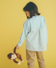 【KIDS】粗節天竺棉拼接罩衫