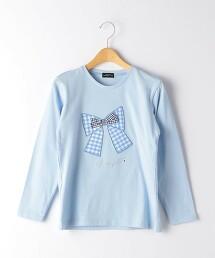 小方格格紋 蝴蝶結 套頭長袖上衣