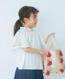 【KIDS】直條紋花朵刺繡套衫