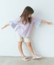 【KIDS】拼接色荷葉袖罩衫