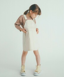 【KIDS】綾織 米白色吊帶裙