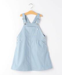 【KIDS】綾織喇叭吊帶裙 淺藍