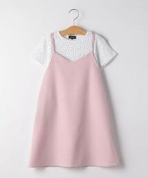 【KIDS】假兩件 細肩帶洋裝
