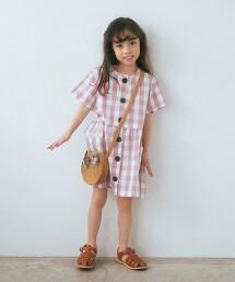 棋盤格紋前釦洋裝