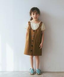 【KIDS】斜紋織 正面鈕釦 連身裙
