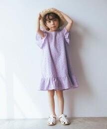 【KIDS】蕾絲 摺邊 洋裝