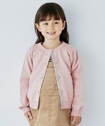 【KIDS】棉針織 小花胡桃釦對襟外套