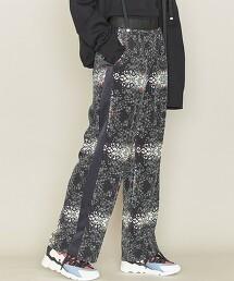 <ASTRAET>裝飾印花 側邊條紋 寬褲 日本製†