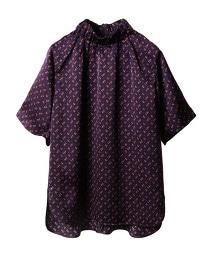 ASTRAET 小花紋印花 高領 皺褶罩衫