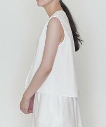 <ASTRAET>純棉 細褶 無袖 罩衫 日本製