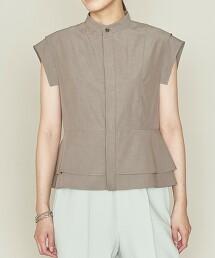 <ASTRAET>褶襇短飾邊 立領 無袖罩衫† 日本製