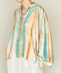 <ASTRAET>色彩梯度印花 開襟領 罩衫 日本製