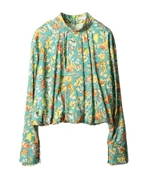 ASTRAET 花朵印花 高領 蓬鬆袖 襯衫