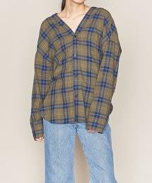 ASTRAET V領 格紋 背面蝴蝶結 罩衫