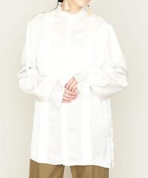 <ASTRAET>色丁布 細摺 蕾絲罩衫