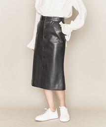 ASTRAET 仿皮革 正面鈕釦 窄裙