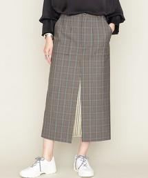 <ASTRAET>格紋 拼接 窄裙 日本製