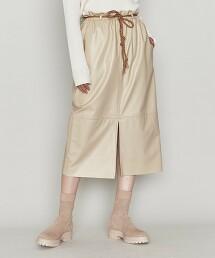 <ASTRAET>仿皮革 綁帶窄裙 日本製