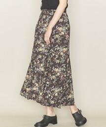 <ASTRAET>花朵印花拼接布A字裙 日本製