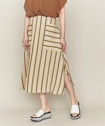 ASTRAET 直條紋圓弧下襬裙