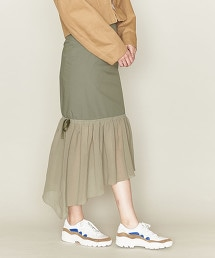 ASTRAET 異材質拼接 不規則下襬窄裙