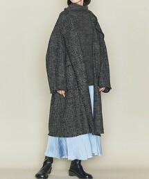 <ASTRAET>W/AC 粗花呢 無領大衣