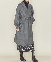 <ASTRAET>W/PU 泡泡袖 無釦 附腰帶大衣