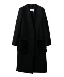 ASTRAET 絨毛口袋V領無領長版大衣