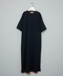 <ASTRAET>布帛拼接 5分袖連身裙 日本製 台灣限定色