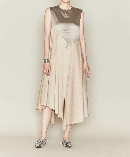 ASTRAET 異材質拼接 不規則裙襬洋裝